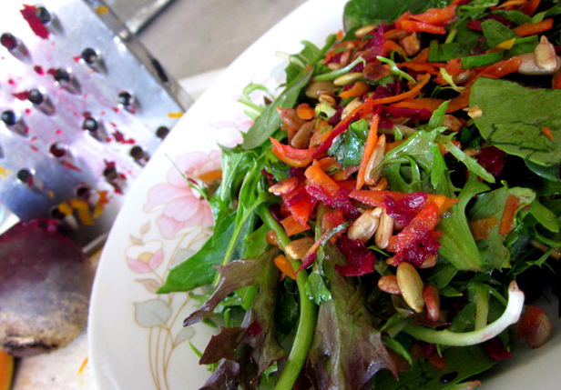 Raw Energy Salad Grated Carrot Beetroot